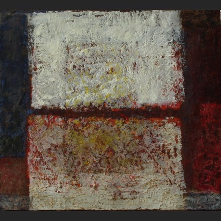 Opening, 36 x 36 cm, an abstract encaustic painting by Lin Schmidt