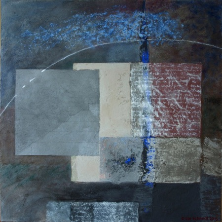 Pyramid Pi, 80 x 80 cm, an abstract encaustic painting by Lin Schmidt