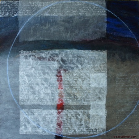 Temps - Corbeau Rouge, 80 x 80 cm, an abstract encaustic painting by Lin Schmidt